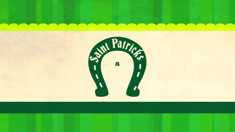 saint patricks day postcard decorated with green striped background layer and a beige stripe with Animation