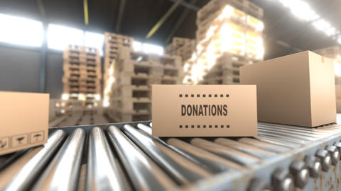 Hangar where cardboard boxes with donation aid are stored, seamless loop Animation