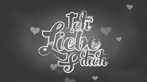 german i affection yourself ich liebe dich written with chalk handling curly offset over a black Animation