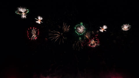 Futuristic abstract fireworks in night sky, black isolated background Live Action