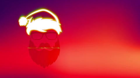 refreshing merry xmas built with facial shadow of beard hippy santa claus claus wearing sunglasses Animation