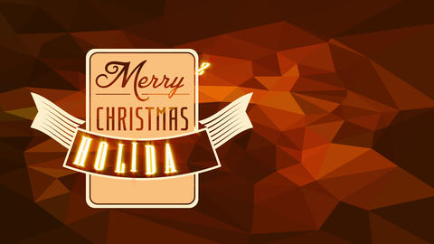 merry xmas leisure invite with squared and folded strip up it creating wings effect on dark amber Animation