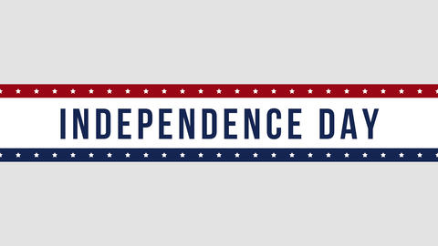 Animated closeup text Independence Day on holiday background, Nation Day of USA Animation