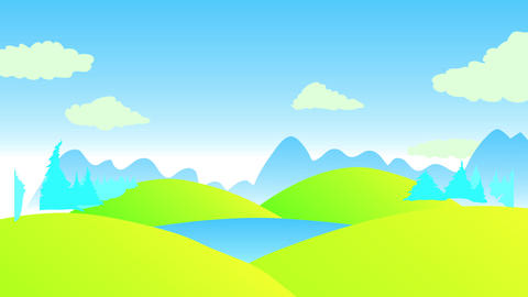 panoramic view with green hills under a clear blue sky with pine woods and big shadows of mountains Animation