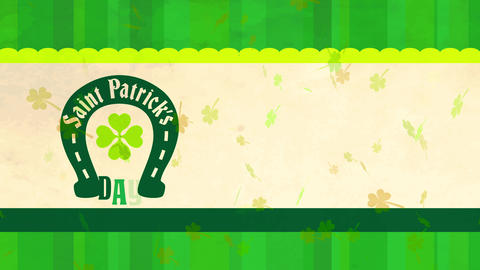angel patricks day postcard garnished with green patterned background layer and a beige strip with Animation