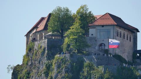 Bled Castle Sunset. Famous Slovenia Travel Place. Ultra HD 4K Timelapse Live Action