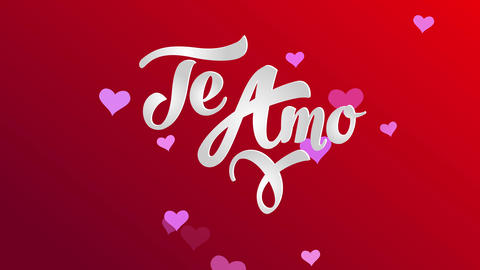 valentines day card illustrating i romance yourself in spanish te amo written with classic 3d white Animation