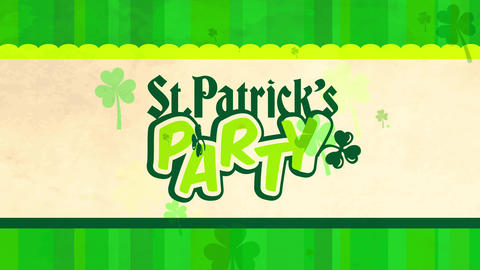 st patricks day celebration banquet using playful glassy typography decorated with lucky clovers on Animation