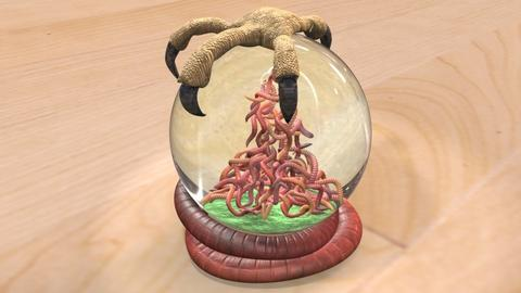 Bird Earthworm Snow Globe 3D Model