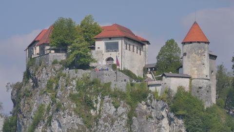 Medieval Castle Bled Lake Slovenia 4K Ulhta High Definition Timelapse Live Action
