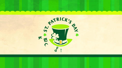 st patricks day party with leprechaun hat and four leaf clovers surrounded by the words luck of the Animation