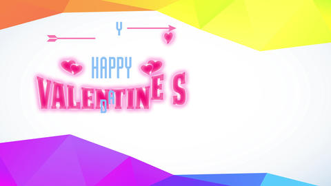 greeting cardboard with cheerful valentines day written with arrows and hearts decorating the script Animation