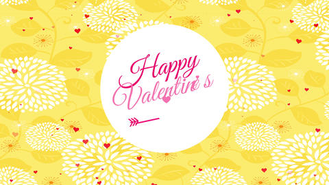 joyful valentines day card written inside a oval manipulation passionate typography over yellow Animation