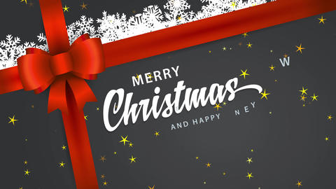 souvenir with text merry christmas and happy new year fingers written in cursive type on cardboard Animation