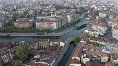 3 Aerial View Of Milano Italy From Darsena And Navigli Live Action