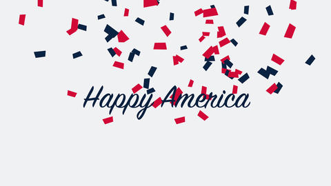 Animated closeup text Happy America on holiday background, Nation Day of USA Animation