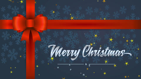 merry christmas and smiling new year with cursive font words written on a offer detail with red bow Animation
