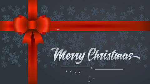 merry christmas and happy new year with cursive font words written on a gift detail with red bow and Animation