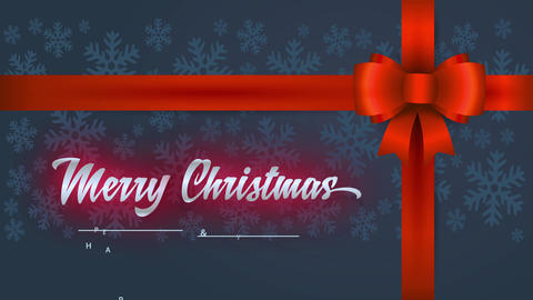 merry xmas and satisfied new year with cursive type words written on a giving detail with red bow Animation