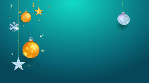 yellow and colour timber bulbs stars snowflakes and confetti suspended on the sides of emerald scene Animation