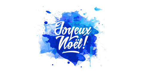 french merry christmas with words joyeux noel text with cool hand drawn typography over blue Animation