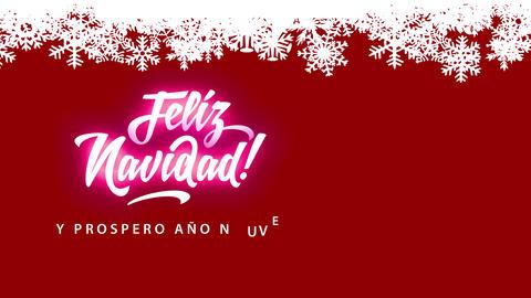 feliz navidad y prospero ano nuevo merry xmas in spanish written in size trendy and cursive Animation