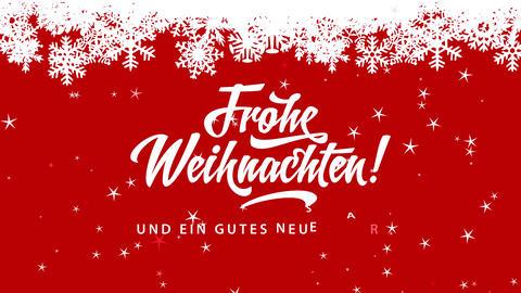 frohe weihnachten und ein gutes neues jahr german merry xmas and cheerful new year written over red Animation