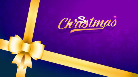 christmas sale with detail of gift wrap with purple paper and golden brilliant bow using classic Animation