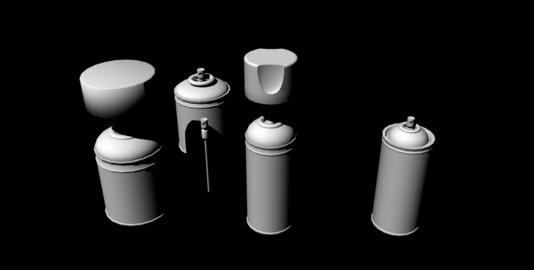 Spray Cans untextured Modelo 3D