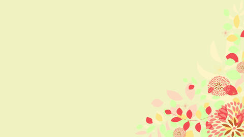 flowers and plants with different soft autumn colors quickly appearing on the bottom right of yellow Animation
