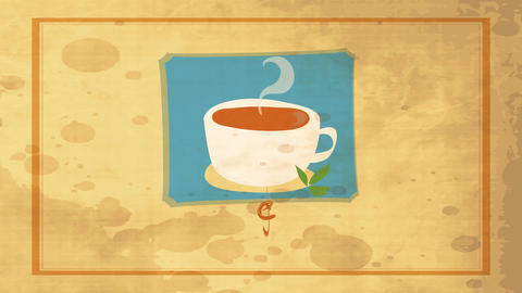 tea with a cup filled with hot beverage and decorated with green leafs over old fashioned background Animation