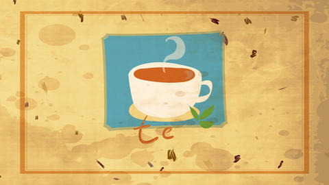 tea with a mug filled with hot beverage and garnished with green leafs over mature fashioned scene Animation