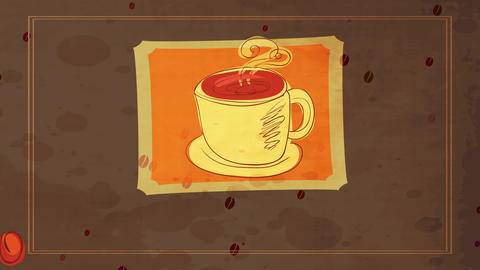 lovely coffee cartoon with fingers drawn mug flush with warm drink releasing curly vapour over Animation