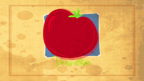 old school concept art for food publicity with a fat red tomato digitally drawn above striped Animation