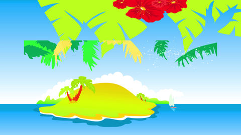 tropical hawaiian isle with strong red flowers and palm trees creating pattern up moist height and Animation