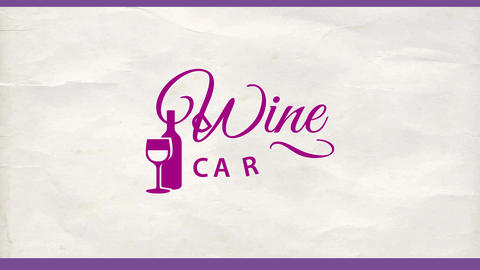 wine card with a glass and a bottle graphics and classic typography on a white crumpled paper Animation