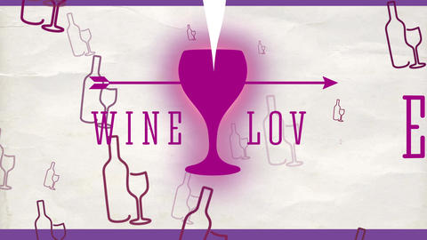 wine love concept with an arrow located over a mug with a heart and text with fashionable offset Animation