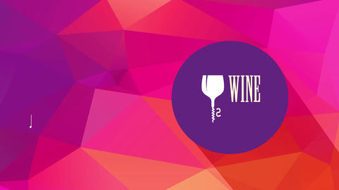 modern wine list identity with glass and corkscrew replacement writing i over colour curve above 3d Animation