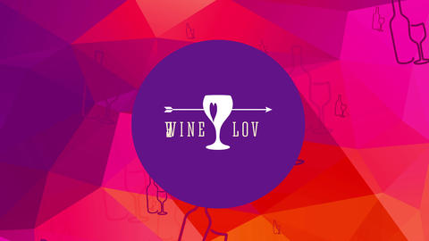 wine romance with a heart crossed by an arrow drawn on a glass and classy typography over warm toned Animation