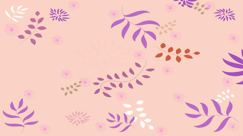 wonderful endless floral pattern with all types of flowers branches and plants drawn on plush color Animation