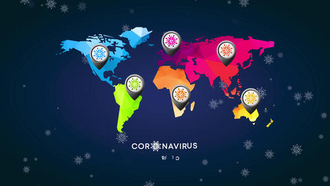 coronavirus world chart made with 3d triangular forms and a position symbol symbol designed with Animation