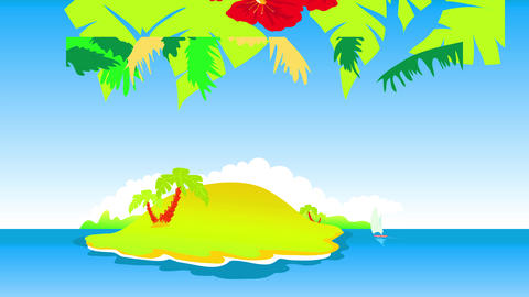 tropical hawaiian island with intense red flowers and palm trees creating pattern above lush hill Animation