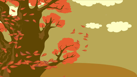 wonderful nostalgic seasonal concept science designed with doodle of leaves falling from huge mature Animation