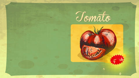 retro styled tomato nails drawn with pencil and painted with red watercolour over a vintage paper Animation