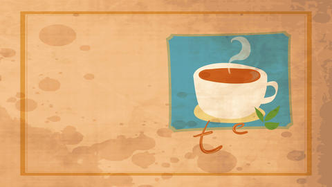 tea with a mug flush with warm drink and garnished with green leafs over old fashioned scene and Animation