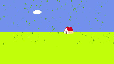 leafs floating slowly everywhere on a blue background with a thick green stripe entering frame from Animation