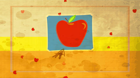 antique food advertising with big red fruit drawn over blue edge layered background with dirt Animation