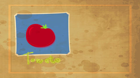 elderly school concept science for food publicity with a greasy red tomato digitally drawn above Animation