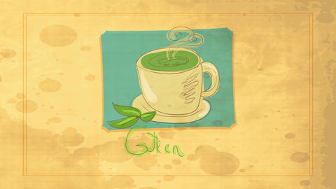 vintage warm beverage concept art designed with green tea mug and steam coming out decorated with Animation