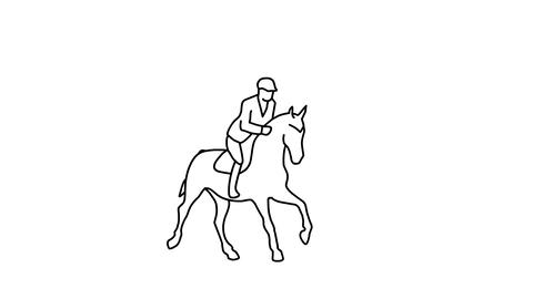 Silhouette of galloping and jumping horse, alpha channel Animation
